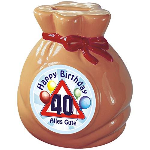 AV Andrea Verlag Spardose Sparbüchse zum Geburtstag, für runde Geburtstage als Geldgeschenk. Geld Sack, Keramik glasiert Sparschwein ca. Ø 10 x 13 cm (Geld Sack zum 40. Geburtstag)