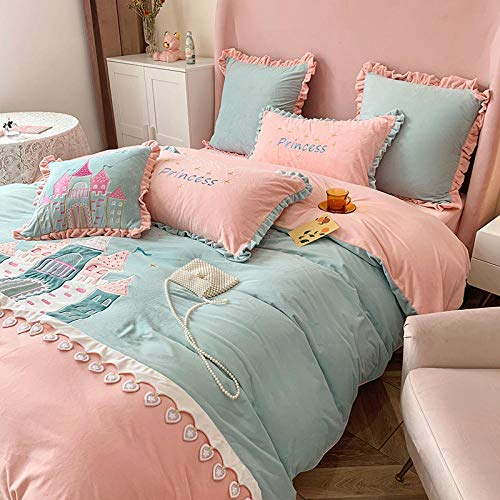 Shinon grey king size bedding set,Winter cartoon cute thick double-sided baby velvet girl heart bed sheet king duvet cover bedding-E_1.8m bed (4 pieces)