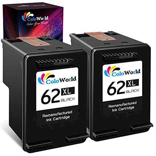 ColoWorld Rigenerata 62 62XL Cartucce d'inchiostro 2 Nero per HP 62 XL per hp Envy 5540 5541 5542 5544 5545 5546 5547 5548 5549 5660 5640 7640 8000 OfficeJet 200 250 258 5740 5741 5742 Stampantes