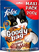 Our specially formulated FELIX GOODY BAG Original Mix flavoured with Chicken, Liver & Turkey cat treats contain proteins, vitamins and omega 6 fatty acids to help keep your cat supported. Flavoured with chicken, liver and turkey A colourful mix of me...