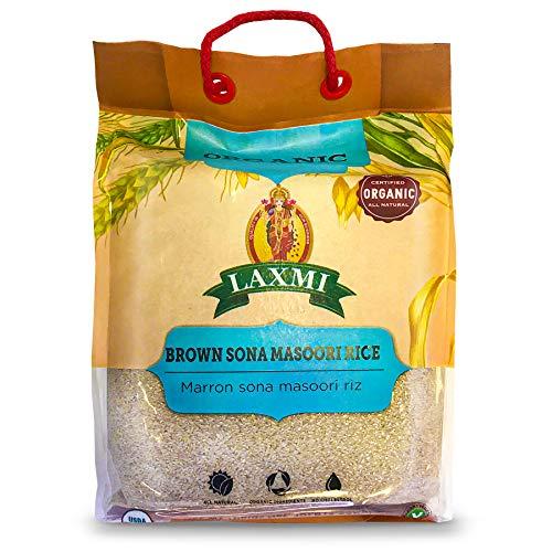 Laxmi Organic Sona Masoori Rice, All Natural, Organic Ingredients, No Cholesterol, USDA Organic, Vegetarian, 10lb (Brown Rice)