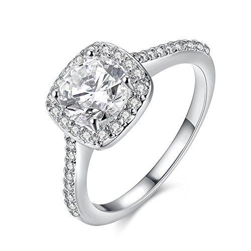 Plata de ley 925, anillos de bodas de solitario de diamante simulado, anillos de halo para joyería de aniversario/compromiso/fiesta para mujeres, LJ074