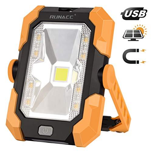Luz de Trabajo Portátil Led Recargable de Solar y USB,con Batería y Giro de 360°, 1000 Lúmenes, Mango Magnético,4 Modos (Naranja)