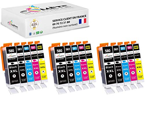 Comete - Cartuchos compatibles con Canon PGI-580 CLI-581 580XL 581XL para impresora PIXMA (15 unidades), color negro