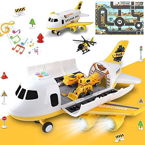 Construction Airplane Toys with Activity Play Mat,Car Toys Set with Light and Sound...