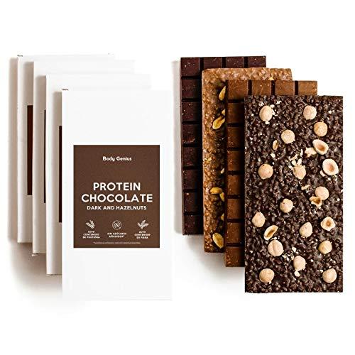 BODY GENIUS Tabletas chocolate Proteico. Pack 4 sabores. Sin Azúcar y Sin Edulcorantes Artificales. Alto en Proteína. Tamaño Familiar. Hecho en España. 4 x 150g