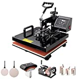 Heat Press Machine 15x15 inch 8 in 1 T-Shirt Digital Printing Transfer Sublimation Machine 1100W with Clothes, Mug Press, Hat/Cap, Plate Press