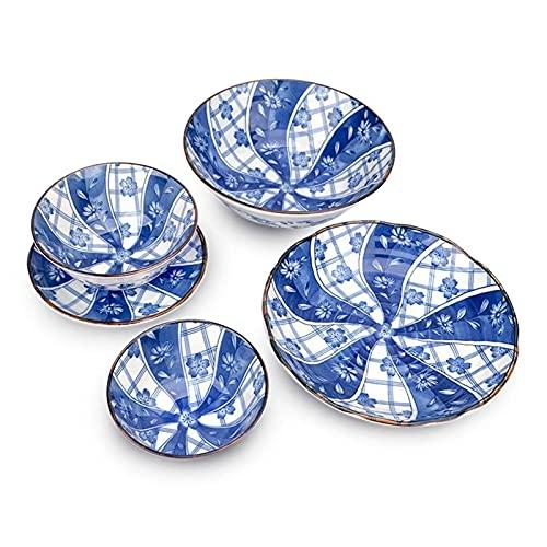 Juego de Platos, Vajilla de cerámica 8 Set, tazón de Sopa Grande × 1 + Placa Media × 2 + tazón Mediano × 4 + Placa pequeña × 1, Euro Ceramica