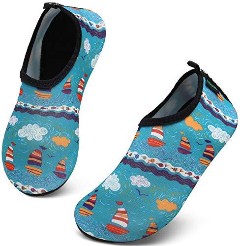SAGUARO Badeschuhe Kinder Kleinkind Strandschuhe Schwimmschuhe Wasserschuhe Jungen Mädchen Aquaschuhe Barfußschuhe für Strand Schwimmbad(070 Mehrfarbig,26/27 EU)