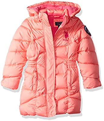 US Polo Association Girls' Toddler Heavyweight Long Bubble Jacket with Faux Fur Hood, Coral, 2T