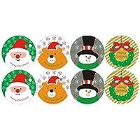 10パック/ロット雪だるまとサンタとクマのクリスマスステッカーデコレーションパッケージケーキベーキングシールステッカー