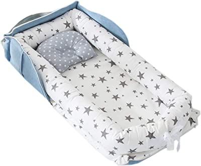 Abreeze Baby Bassinet for Bed Bedside Cribs -Grey Stars Baby Lounger - Breathable & Hypoallergenic Co-Sleeping Baby Bed - 100% Cotton Portable Crib for Bedroom/Travel 0-24 Months