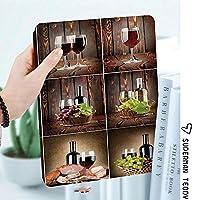 カスタム IPad 2 3 4 ケース オートスリープ機能ぶどうと肉の素朴な国の装飾を施した木製の背景にワインをテーマにしたコラージュ