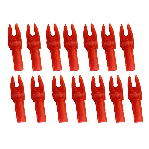 Mangobuy 50 Piezas Flecha de Tiro de plástico Nock para ID 6mm / 6.5mm / 7.6mm Flechas (Rojo Transparente, ID 6 mm)