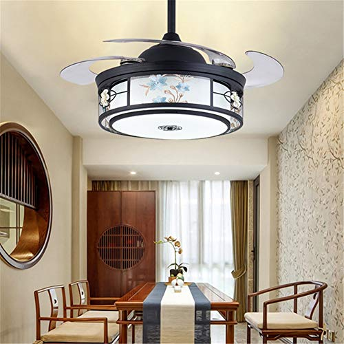 Lightjh lamp voor plafondventilator, Chinees, met afstandsbediening, retro, eetkamer, woonkamer, ventilator, lamp, muet, LED-lamp, huis, van massief hout, retro, driekleurig, dimbaar