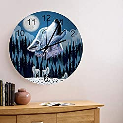 12 Inch Silent Non-Ticking Round Wooden Wall Clock Wolf Animal Silhouette a Cliff Under Full Moon Mysterious Dramatic Sky Roman Numeral Hands Clock Home Decor for Kitchen Living Room Bedroom Farmhouse