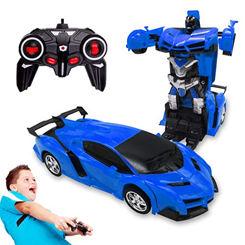 Pup Go Remote Control Car Toys for 5-12 Years Old Kids, 2 in 1 Transformer Robot RC Racing Cars One-Button Transforming, 360° Rotating with LED Lights, Best Birthday Gifts for Boys Girls (Blue)