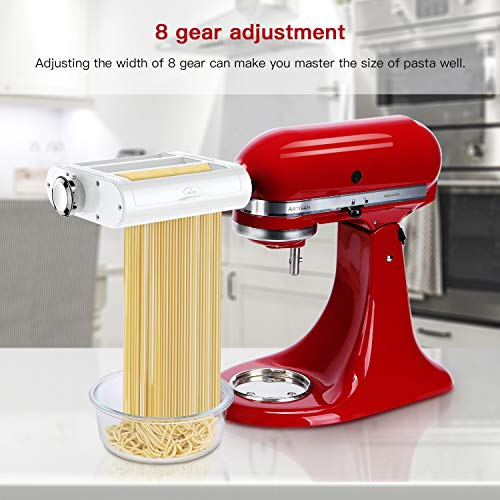 ANTREE Pasta Maker Attachment 3 in 1 Set for KitchenAid Stand Mixers Included Pasta Sheet Roller, Spaghetti Cutter, Fettuccine Cutter Maker Accessorie   s and Cleaning Brush