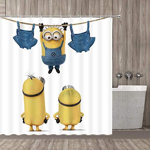qianliansheji Home Dekorativer Duschvorhang mit gratis Haken, drei nackte Cartoon-Figuren auf weiß wie Minions, niedlich und lustig, wasserdichter Polyester-Stoff, Badvorhang mit Größe 178 x 178 cm