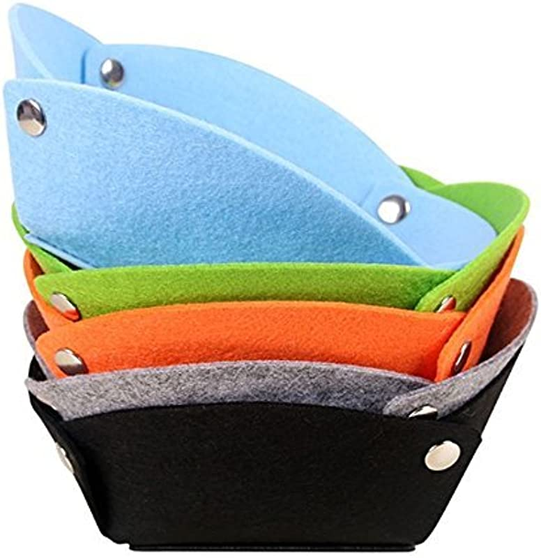 AiBuy Folding Wool Felt Valet Tray Desktop Travel Storage Basket Box Soft Fabric Nightstand Tray Jewelry Tray Catch All Tray Bedside Wallet Keys Storage Tray Edc Tray For Women Men Pack Of 5