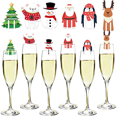 Feelava Weinglas Marker 48 Stück, Weihnachten Weinglas Charms dekorative Karte Party Trinkbecher Kennung Cocktail Getränk Marker Wein Zubehör Hostess Geschenke Strumpf Stuffers Party Dekoration