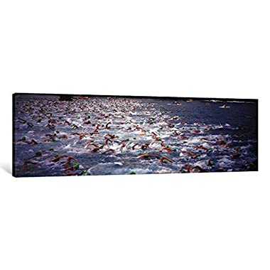 iCanvasART 1 Piece Triathlon Athletes Swimming in Water in a Race, Ironman, Kailua Kona, Hawaii, USA Canvas Print by Panoramic Images, 12 x 36 x 0.75-Inch