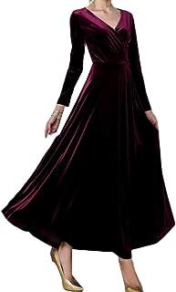 WE&energy 女性のベロアチュニック特大秋冬Vネックイブニングドレス