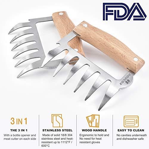Aoucor Meat Shredder Bear Claws BBQ Stainless Steel Handheld Forks, Kitchen Tool for Shredding, Pulling, Handing, Lifting & Serving Pork, Turkey, Chicken, Brisket - Set of 2