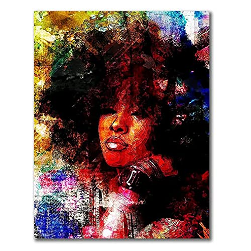 Arte De Impresión De Pintura De Acuarela, Decor De La Pared Del Dormitorio Arte Negro Abstracto Moderno Retrato Niña Afro Con Imagen Cabello Explosión Carteles Lienzo, Sin Marco,50x70cm