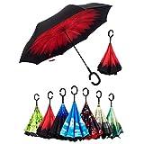 SKY TEARS Paraguas de lluvia o brillo, espejo creativo: paraguas de viaje invertido con mango moldeado en C Vino rojo 41.7 × 31.5 pulgadas / 106 × 80 cm