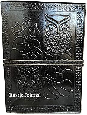 Embossed Leather Owl Journal Bound Diary Planner Antique Notebook with Unlined Pages Best Gift for Him & Her (Black, 107&