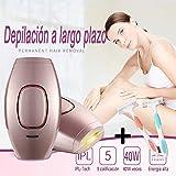 Depiladora de Luz Pulsada Depilación Sistema de Depilación IPL, LEONMAR 400000 Flashes Beauty Device en Las Axilas y La Línea de Bikini, Reduce el Crecimiento Del Vello A Largo Plazo (Rosa)