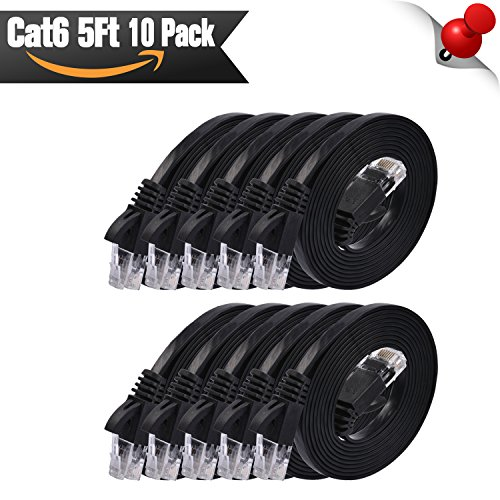 Cat 6 Ethernet Cable Flat 5 ft - 10 Pack Black (at a Cat5e Price but Higher Bandwidth) Internet Network Cable - Cat 6 Ethernet Patch Cables Short - Computer LAN Cable with Snagless RJ45 Connectors