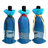 Barracuda natation dans la mer sacs fourre-tout de bouteille de vin de Noël - 3pcs sacs de vin rouge cadeau pour décor de table de cuisine d'hôtel de fête