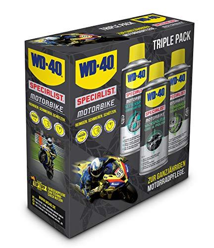 WD-40 Specialist Motorbike Motorradpflegeset 1x Kettenspray, 1x Kettenreiniger, 1x Wachspolitur (3x 400ml)