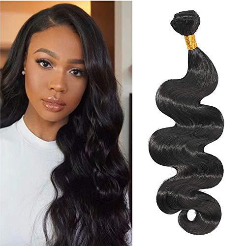 """Tissage Bresilien En Lot Ondulé Cheveux Naturel Brésilienne De Haute Qualité 8A One Bundle Brazilian Human Hair Bundles Body Wave - 10""""/25CM, Noir Naturel"""