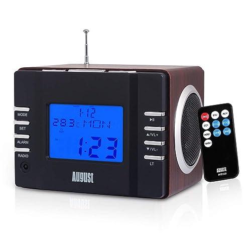 August MB300 – Radio Réveil Lecteur MP3 / Radio FM / USB / Carte SD / AUX-In - Alarmes avec Fonction Snooze, Minuteur Mise en Veille, 12/24h - Haut-Parleur Stéréo 6W - Batterie Rechargeable Intégrée - Brun Foncé
