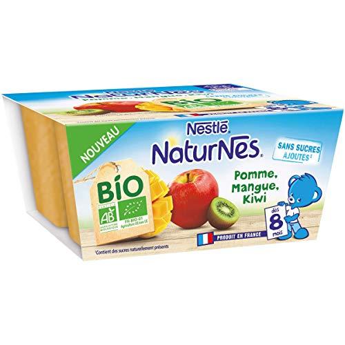 Nestlé Naturnes BIO - Compotes bébé Pomme, Mangue, Kiwi - Dès 8 mois - 4x90g