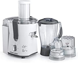 Black+Decker 500W Four-in-One Juicer, Blender, Mincer & Grinder, White - JBGM600-B5, 2 Years Warranty