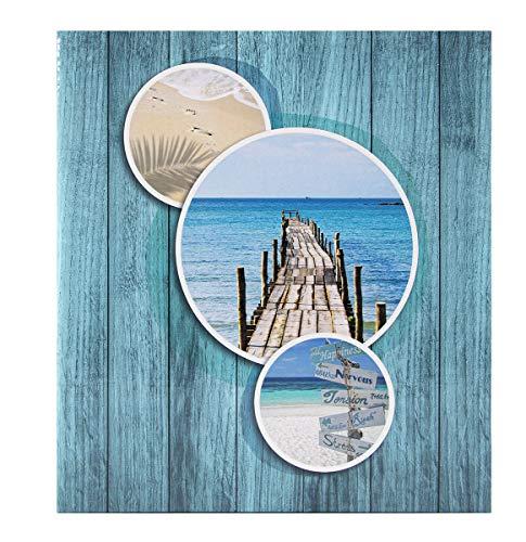Album Photo 11,5x15 200 photos – Album Photo avec Pochette Plastique – Album Photo Vierge Grand Format de 100 Pages – Photo Album Bleu Plage Vacances – Marque Française