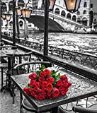 5d diamond pintura de diamantes completo Diamante bordado Paris 'Paris Rose DIY Red Rose Flower Set para bordar mosaico de cuentas-40x50cm