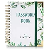 Simplified Greenery Password Book with Alphabetical Tabs - Pocket Sized Internet Password Keeper and Organizer w/Quick Search Design – Log and Sign in Book Journal Incl. Address and Notebook Section