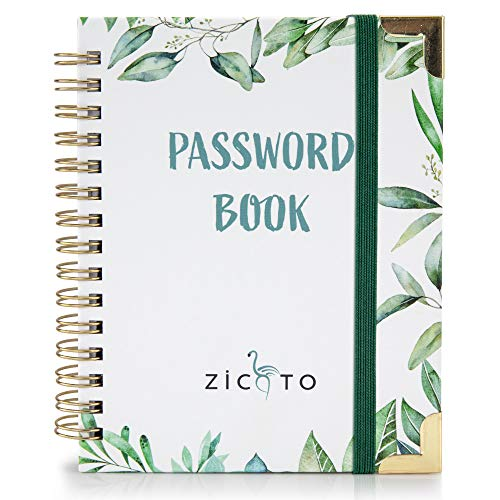 Simplified Greenery Password Book with Alphabetical Tabs - Pocket Sized Internet Password Keeper and Organizer W/Quick Search Design – Password Journal Incl. Address and Notebook Section