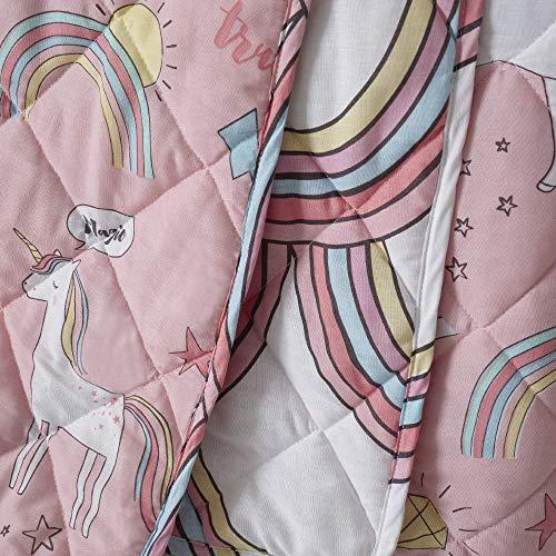 Happy Linen Company Mädchen Stepp-Tagesdecke - Einhörner und Regenbögen - wendbar - Rosa
