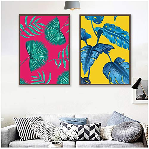 ZYHFBHFBH canvasdruk kunstwanddruk abstracte kleurrijke planten- en bladwanden kunst Afrikaanse plantenfoto's voor de woonkamer 40x50cm(15.7