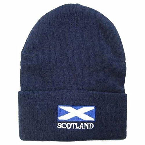 Bonnet à motif drapeau écossais - Homme (Taille unique) (Bleu marine)