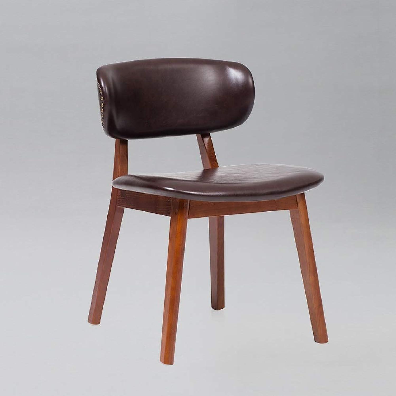 LRZS-Furniture Nordic Restaurant Chair Backrest Modern Simple Home Restaurant Solid Wood Chair Creative Milk Tea Shop Chair Desk Chair (color   Brown)