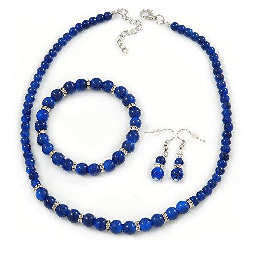 Avalaya 5mm, 7mm Royal Blue Ceramic/Crystal Bead Necklace, Flex Bracelet & Drop Earrings Set in Silver Plating - 42cm L/ 5cm Ext