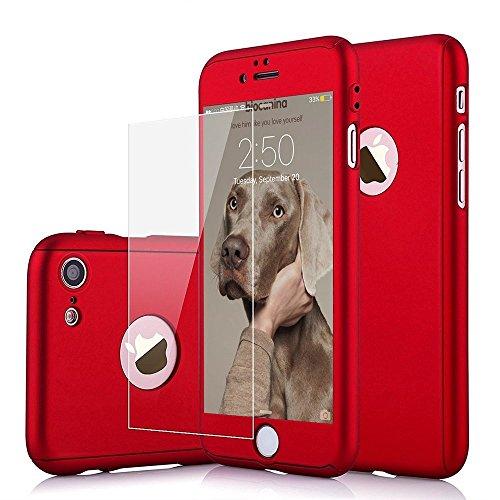 Cover iPhone 5 5s 360 Gradi + Pellicola Vetro Temperato, [ 360 ° ] [ Rosso ] Custodia iPhone 5 SE 360 Gradi + Pellicola Protettiva in Vetro Temperato per iPhone 5 5c 5s SE (Rosso)