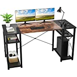 Foxemart Computer Desk with Storage Shelves, 55' Sturdy Office Desk with CPU Stand, Industrial Desk Study Writing Table for Home Office, Vintage Rustic Brown and Black